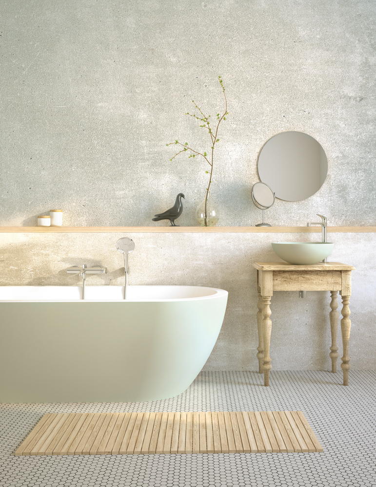 Acrylic bathtub Opera with Round On washbasin painted in CITY FOG colour