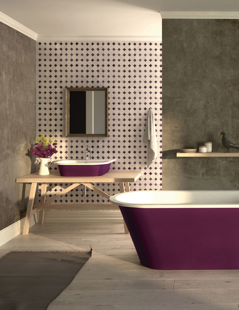 Cast stone bathtub Vario painted in PLUM / Alpine White colour