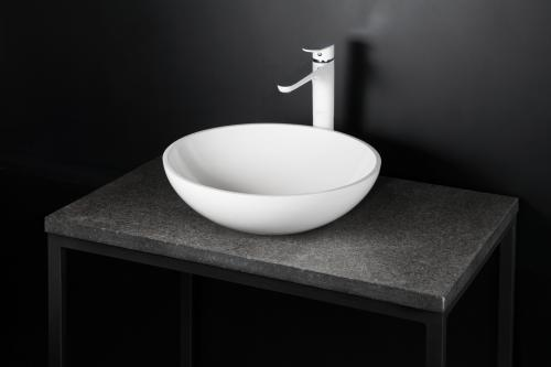 Washbasin Round Silk On with Kevon Chic (Fiore-Italia) mixer on natural stone surface