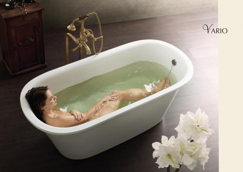PAA cast stone bathtub Vario Round with girl in bath
