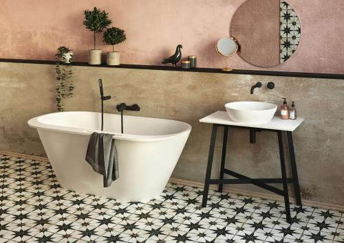 DECO MF 450 metal legs with SilkSTONE surface 800x450 and washbasin DECO with DECO RIM bath interior