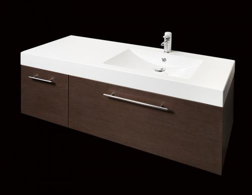 PAA cast stone washbasin Long Step 1500/L on top of Comodo furniture