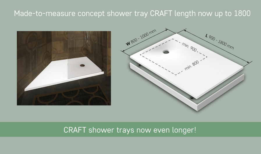 Made-to-measure concept shower tray CRAFT length now up to 1800