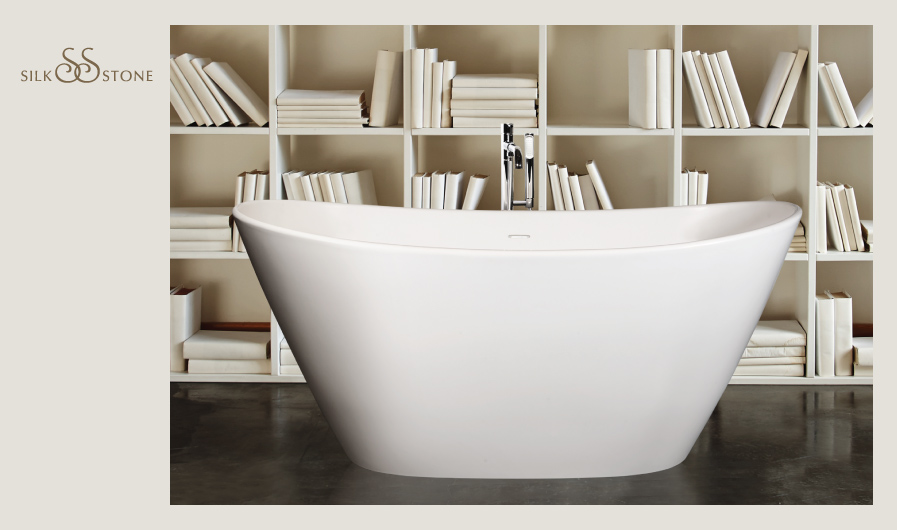 PAA Silkstone bathtub Amore with bookshelf