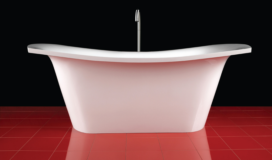 PAA cast stone bathtub Bel Canto on red floor