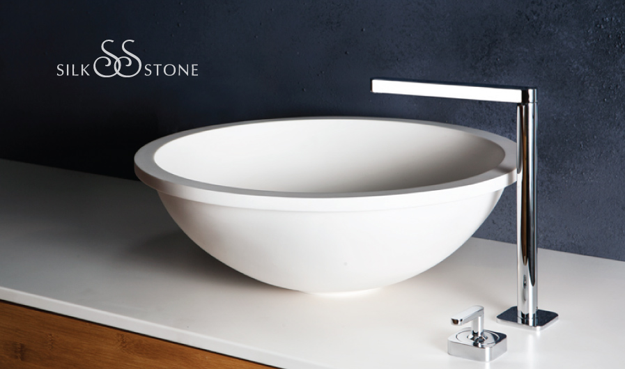 Washbasin on surface Silkstone Round